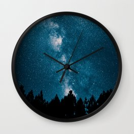 Blue Milky Way At Night Pine Tree Silhouette Stars Night Time Wall Clock