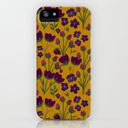 Purple and Gold Floral Seamless Illustration iPhone Case