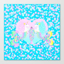 Mermicorn Twins Candy and Bubbles Canvas Print