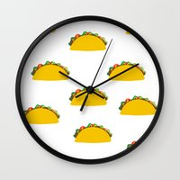 taco Wall Clocks featuring Taco  by Beautiful Artworks