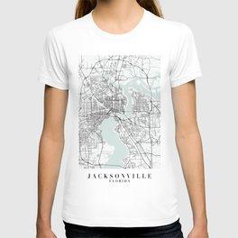 Jacksonville Florida Blue Water Street Map T-shirt