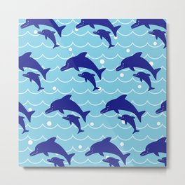 Parent-child of dolphin on the Sea Wave_F Metal Print