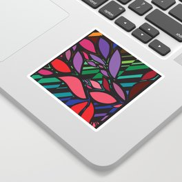 stained glass leaves Sticker