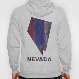 Nevada map outline Red Blue nebulous watercolor Hoody
