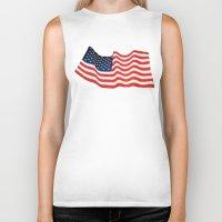 american flag Biker Tanks featuring American Flag by George Robinson