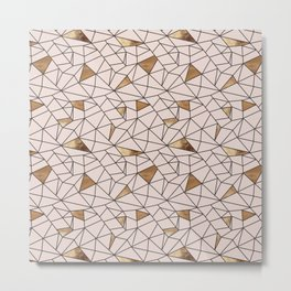 Modern abstract blush pink faux gold geometrical Metal Print