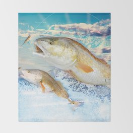 Red Fish Throw Blanket