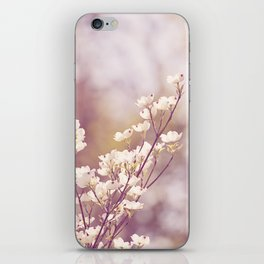 Pink White Spring Floral Photography, Dogwood Tree Blossoms, Lavender Flower Branches iPhone Skin