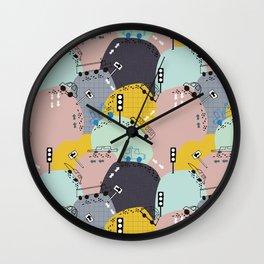 Four wheels purple Wall Clock