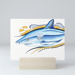 Funky Shark Orange Blue Ink Art Mini Art Print