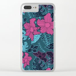 Modern Bold Jungle Floral Pattern Memphis Style Clear iPhone Case