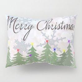 Merry Christmas Glittery Snowy Pine Trees Pillow Sham