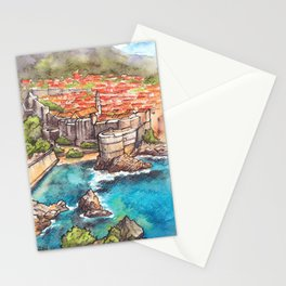 Dubrovnik Croatia ink & watercolor illustration Stationery Cards