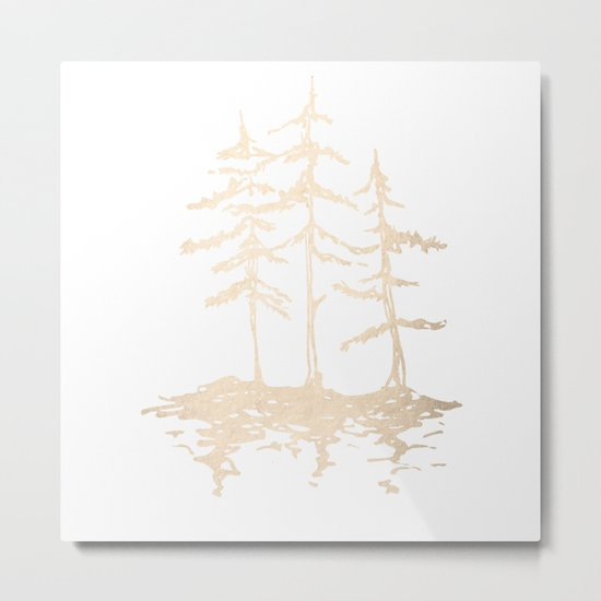 Three Sisters Forest White Gold Trees Metal Print