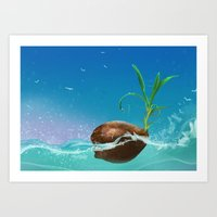 coconut wishes Art Prints featuring Coconut by Azot