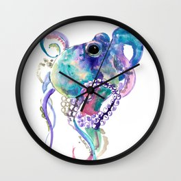 Tuquoise BLue Pink Purple Octopus Wall Clock