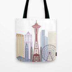 Seattle skyline poster Tote Bag