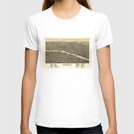 Bird's eye view of the city of Rockford, Illinois (1880) T-shirt