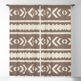 Brown African Ethnic Geometric Pattern Blackout Curtain