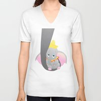 dumbo V-neck T-shirts featuring dumbo and his mom by studiomarshallarts