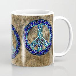Crystal Blue Peace Sign Knot Coffee Mug