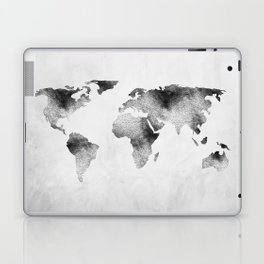 World Map - Hammered Metallic Monochrome Laptop & iPad Skin