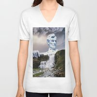 lincoln V-neck T-shirts featuring Lincoln 2079 by John Turck
