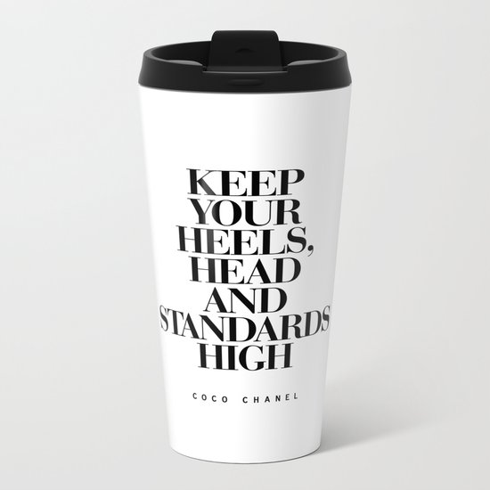 Keep Your Heels High Black and White Inspirational Typography Quote Grl Pwr Girls Bedroom Poster Metal Travel Mug