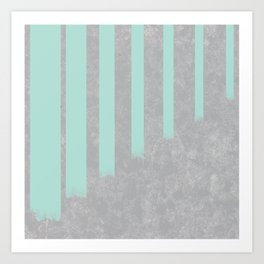 Soft cyan stripes on concrete Art Print