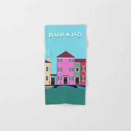 Burano, Italy Travel Poster Block Type Hand & Bath Towel