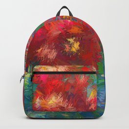 Impressionist Floral Abstract by OLena Art Backpack