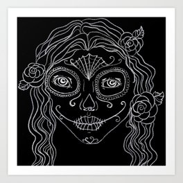 Day of the Dead drawing in black and white Art Print