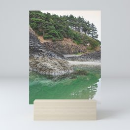 Oregon Coast Tide Pool Green Glowing Forest Coastal Cliff Rocky Landscape Beach Northwest Volcano Mini Art Print