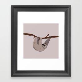 Sloth just hangin' Framed Art Print