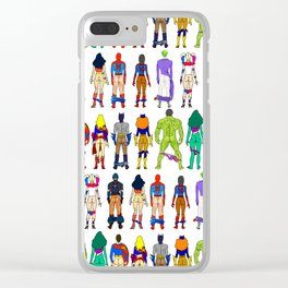 Superhero Butts with Villians - Light Pattern Clear iPhone Case