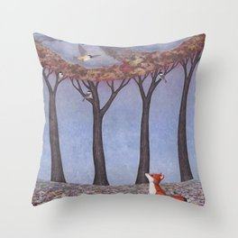 fox and chickadees Throw Pillow