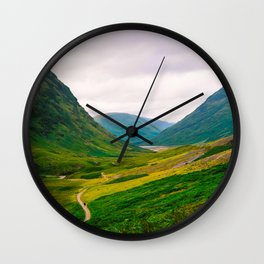 Beautiful Green Fields In A Mountain Valley Landscape Photography Wall Clock
