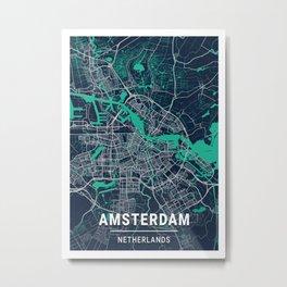 Amsterdam Blue Dark Color City Map Metal Print