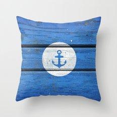 Nautical White Anchor on Vintage Blue Wood Panels Throw Pillow
