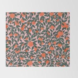 Oranges and Leaves Pattern - Pink Throw Blanket