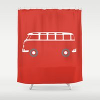 vw bus Shower Curtains featuring VW Samba Bus - Flat by Art By Edo