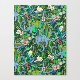 Improbable Botanical with Dinosaurs - dark green Canvas Print