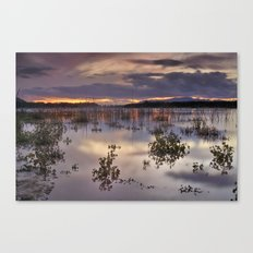 Mysterious light at the lake Canvas Print