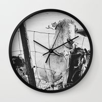 goat Wall Clocks featuring Goat by Leah Flores