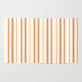 Bright Orange Russet Mattress Ticking Wide Striped Pattern - Fall Fashion 2018 Rug