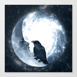 The crow and its Moon. (bcn art version) Canvas Print