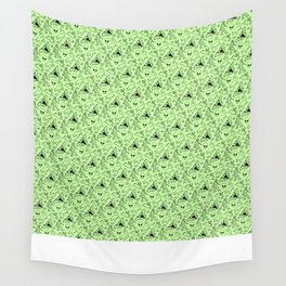 Cryptid Pattern: Black on Green Wall Tapestry