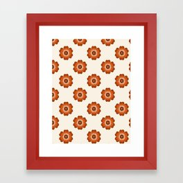 Retro floral flowers pattern minimal 70s style pattern print 1970's Framed Art Print