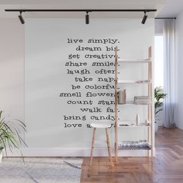 Live Simply Dream Big Typography Inspirational Phrase Wall Mural