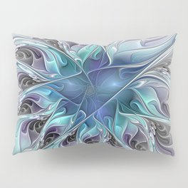 Flourish Abstract, Fantasy Flower Fractal Art Pillow Sham